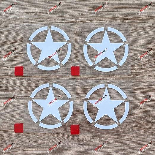 3S MOTORLINE 4X White 2 Army Star WW2 Decal Sticker Car Vinyl fit for Jeep Toyota Willys Style a