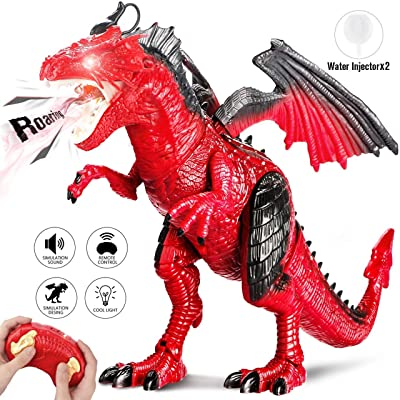 Remote Control Electronic Walking Dinosaur Toy Children RC Animal Toys w/Simulation Roaring, Spraying Smoke, Shaking Head, Flapping Wings Functions,Cool for Boys & Girls (Red): Sports & Outdoors