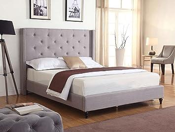 Home Life Premiere Classics Cloth Light Grey Silver Linen 51u0026quot; Tall  Headboard Platform Bed With