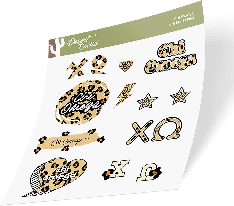 Chi Omega Sticker Decal Laptop Water Bottle Car (Cheetah Print Sheet)