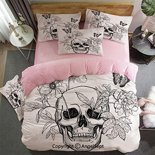 Girls Twin Full Queen Bed Black Pink Floral Skulls 3 pc Comforter Set Bedding