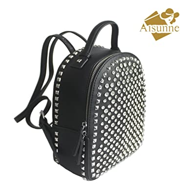 c785e5a9bc13 Amazon.com  Aisunne Mini Backpack Handbags With Rivets Glitter Rhinestone  For Girls Women Leather Small Shoulder Backpacks (Black)  Shoes