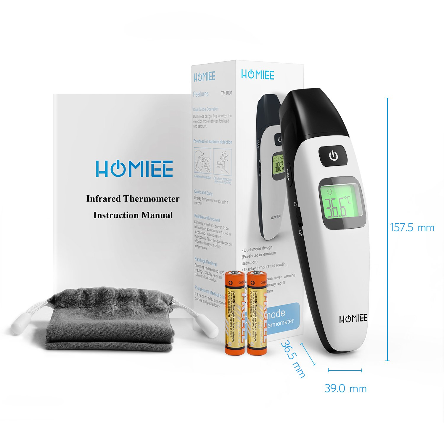 HOMIEE Black Thermometer, Ear Thermometer for Kids, Non Contact Infrared Digital Forehead Thermometer with Fever Alert and Three Color Backlit for Baby and Adults, FDA and CE Certifications Approved by HOMIEE (Image #7)
