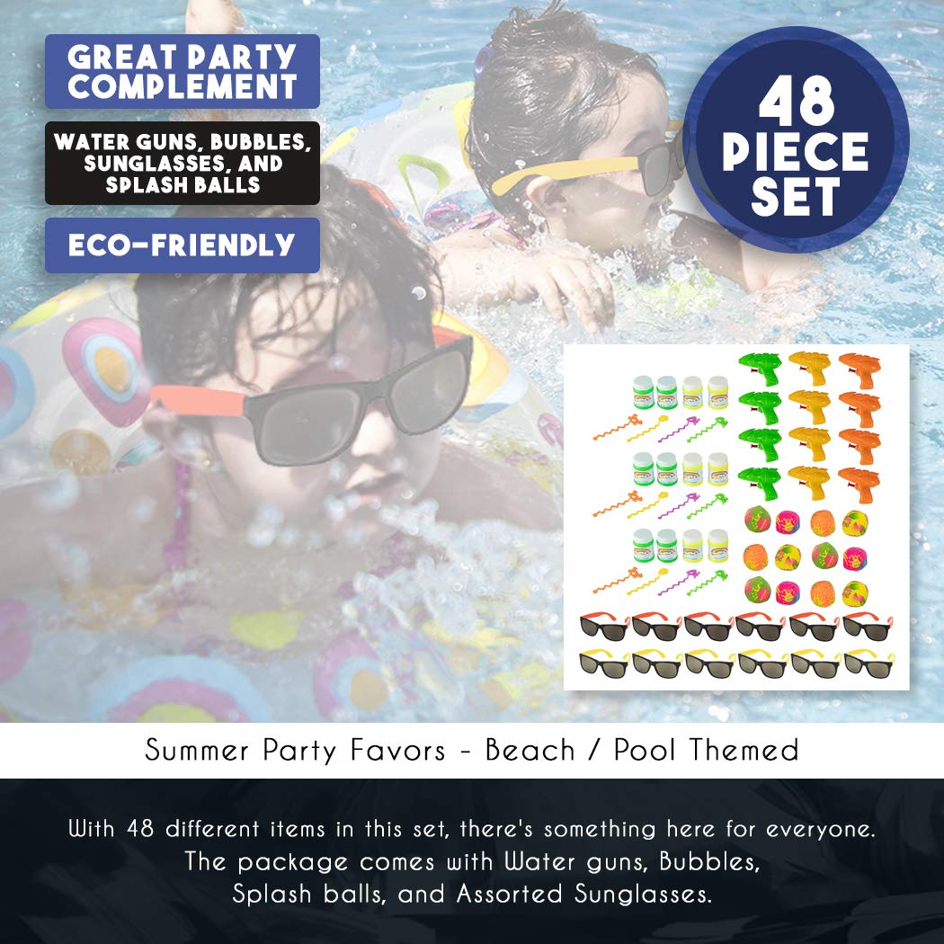 48-Pack Beach Theme Party Favors 12 Splash Balls Juvale 12 Bubbles Assorted Toys for Kids Summer Party Includes 12 Water Guns Pool Party Favors 12 Sunglasses