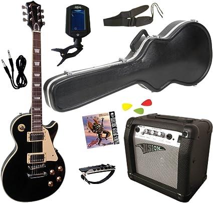 Pack Guitarra Eléctrica Negra LP con funda rígida – Amplificador ...