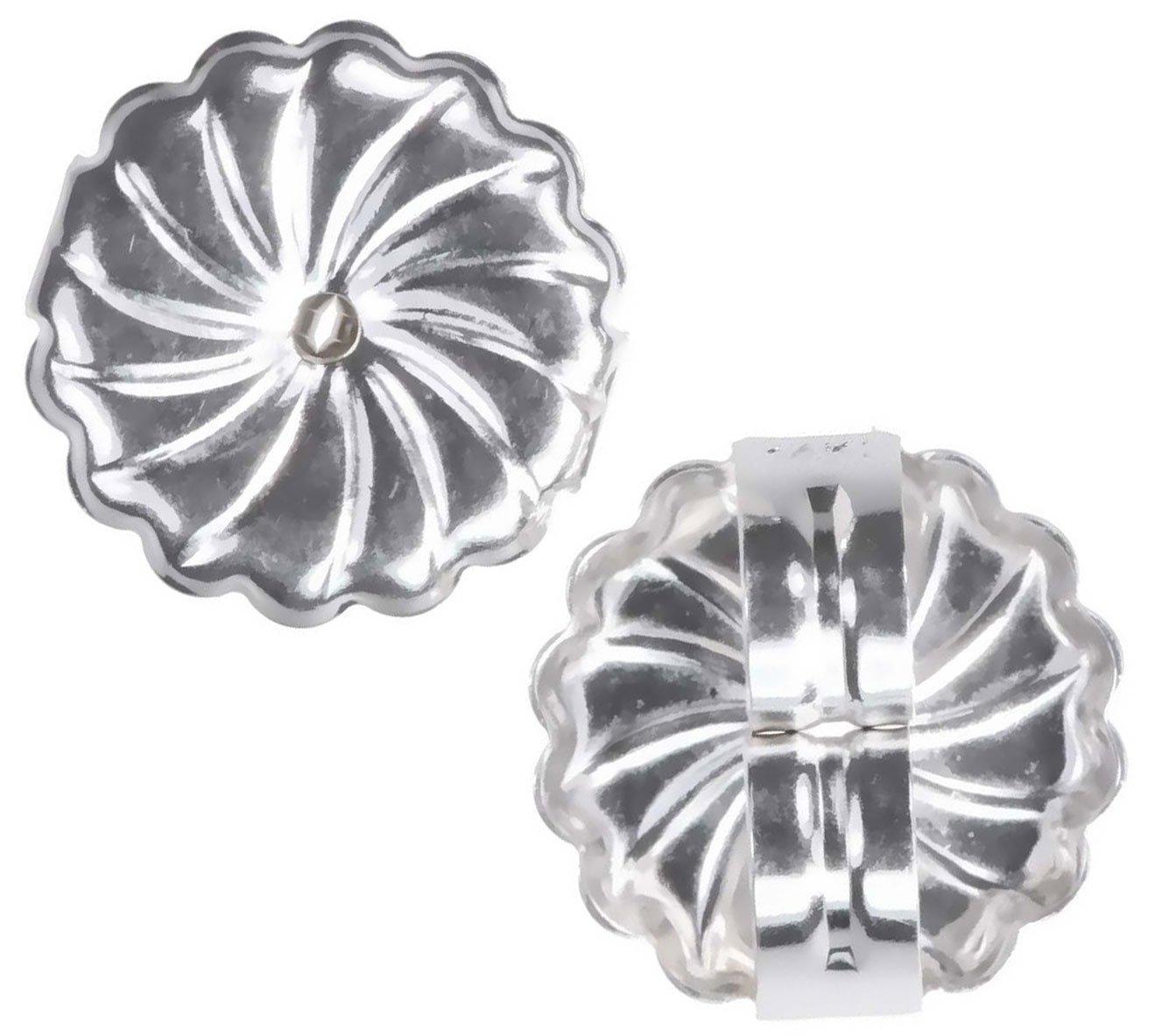 uGems 14K White Gold Jumbo Swirl Earring Backs 9mm X-Large (1 Pair) by uGems