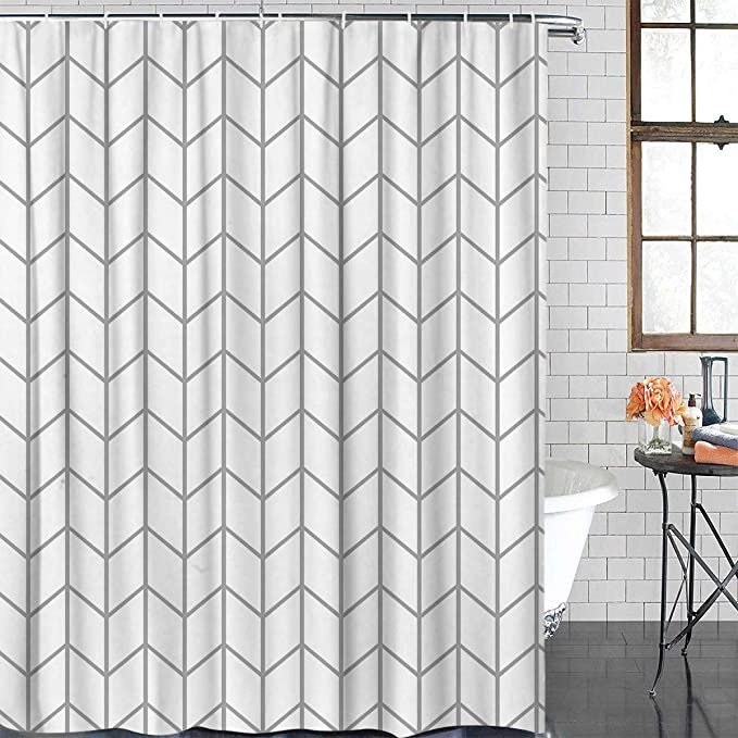 Sun Shine Elegant Geometric Shower Curtains Herringbone Waterproof Fabric Polyester Bathroom Curtain Gray White 72x84inch Extra Long Kitchen Dining Amazon Com