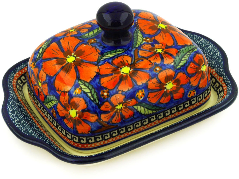 Polish Pottery Butter Dish 8-inch Poppies UNIKAT