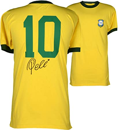 000b7da7b8e Pele Brazil Autographed 1970 Yellow Jersey - ICONS - Fanatics Authentic  Certified - Autographed Soccer Jerseys at Amazon s Sports Collectibles Store