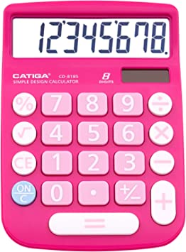 CATIGA CD-8185 Office and Home Style Calculator - 8-Digit LCD Display - Suitable for Desk and On The Move use. (Pink)