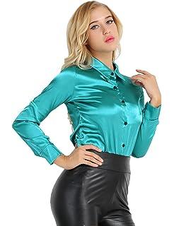 YiZYiF Damen Langarm Shirt Hemd Casual Bluse Einfarbig Oberteil Hemdbluse  Satin-Look Damenbluse Shirtbluse 618789dfbe