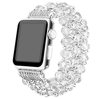 Apple Watch Band 42mm, Fashion Handmade Elastic Stretch Crystal Beaded Bracelet Metal Chain Women Girls Strap Wristband for Apple Watch Series 3/2/1, Edition,Sports (white-42mm)
