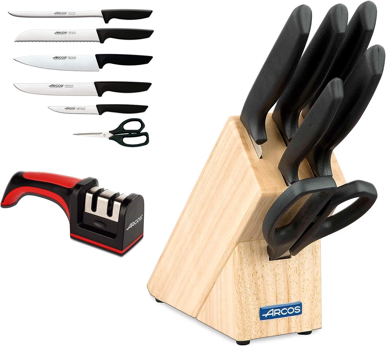 Arcos Juego Cuchillos Cocina y Afilador Cuchillos Cocina Profesional | 7 pzas | Cuchillos Acero Inoxidable Taco Madera | Serie Niza | Uso Cotidiano | Apto lavavajillas