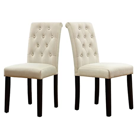 brand new 13bde 12c4f LSSBOUGHT Button-Tufted Upholstered Fabric Dining Chairs with Solid Wood  Legs, Set of 2 (Cream)
