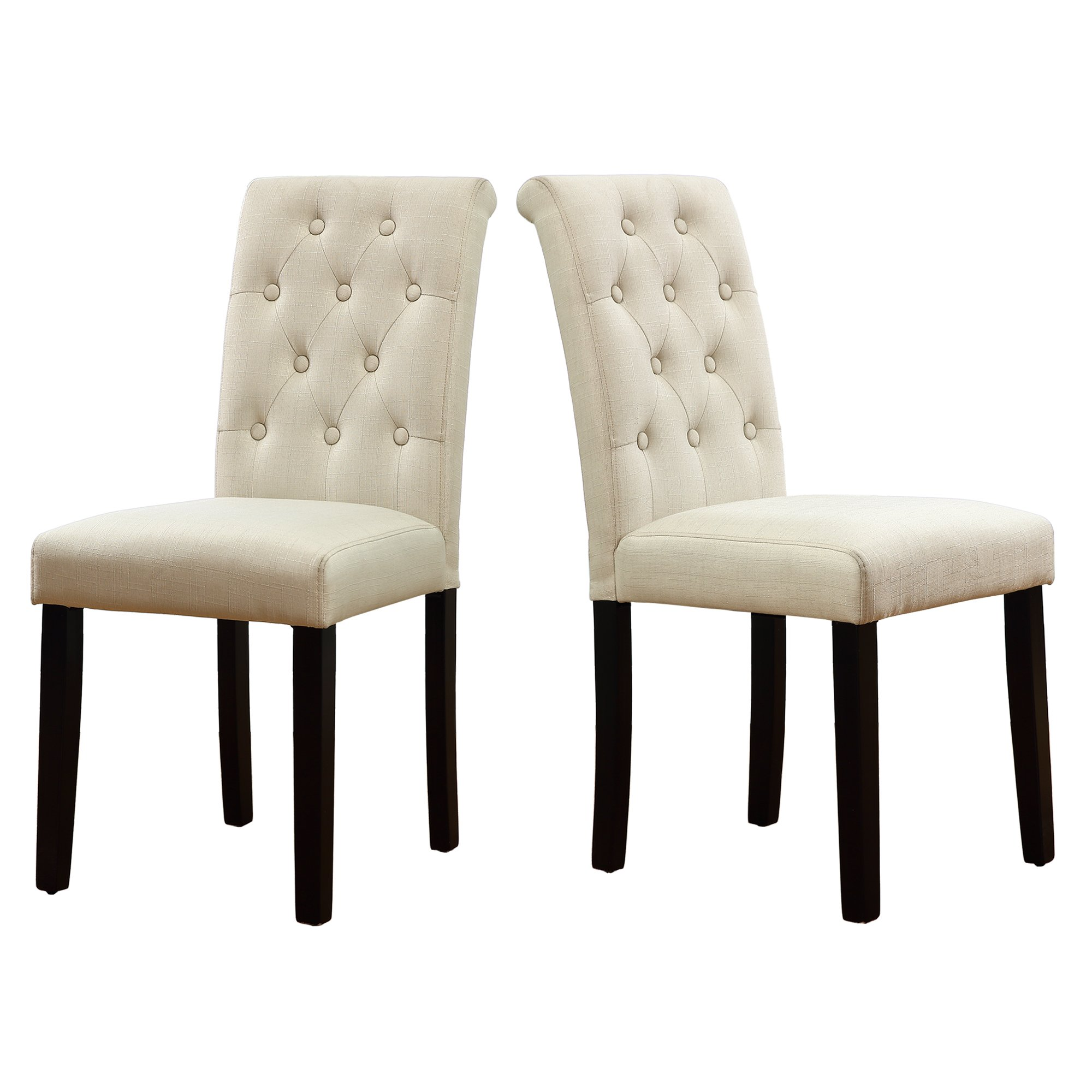 LSSBOUGHT Button-tufted Upholstered Fabric Dining Chairs with Solid Wood Legs, Set of 2 (Cream)