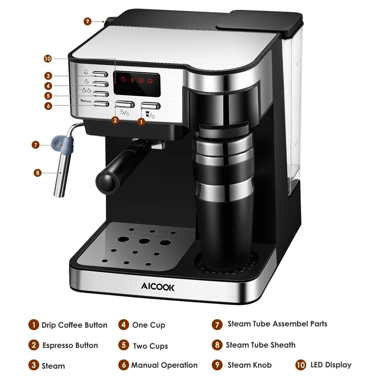 Aicook Cafetera Multifuncion 3 en 1 Espresso, Goteo y Espumador ...