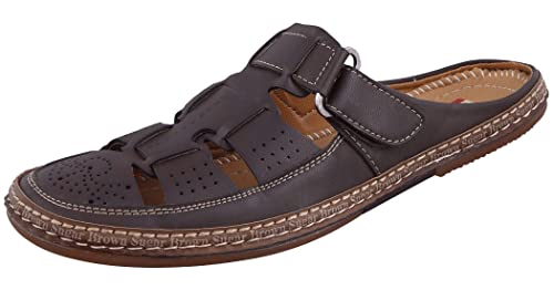 1406399f193270 Marshal Men s Brown Tan Genuine Leather Casual Chappals Open Sandals 7 Size  UK India