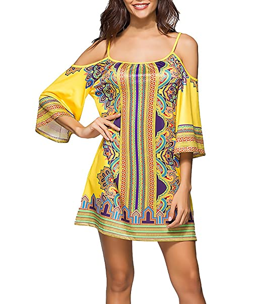 Vestidos Verano Mujer Elegantes Moda Estampado Boho Vestido Playa Manga 3/4 Hombros Descubiertos Casual Suelto Hippie Vestidos Cortos: Amazon.es: Ropa y ...