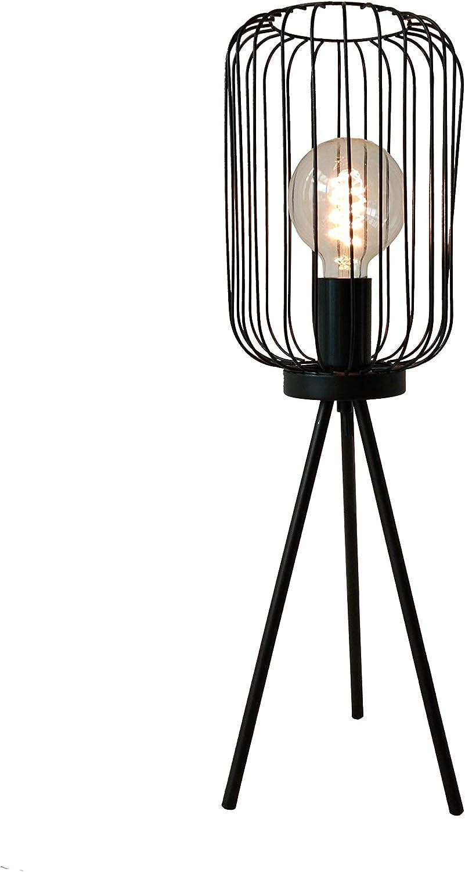 HomeSotuh - Lampara de Mesa de Escritorio, Estudio, Dormitorio, Lectura, lámpara mesita de Noche o de pie, en Hierro Color Negro, Modelo Crux, Medida: 60 cm (Alto) x 29 cm (diámetro)