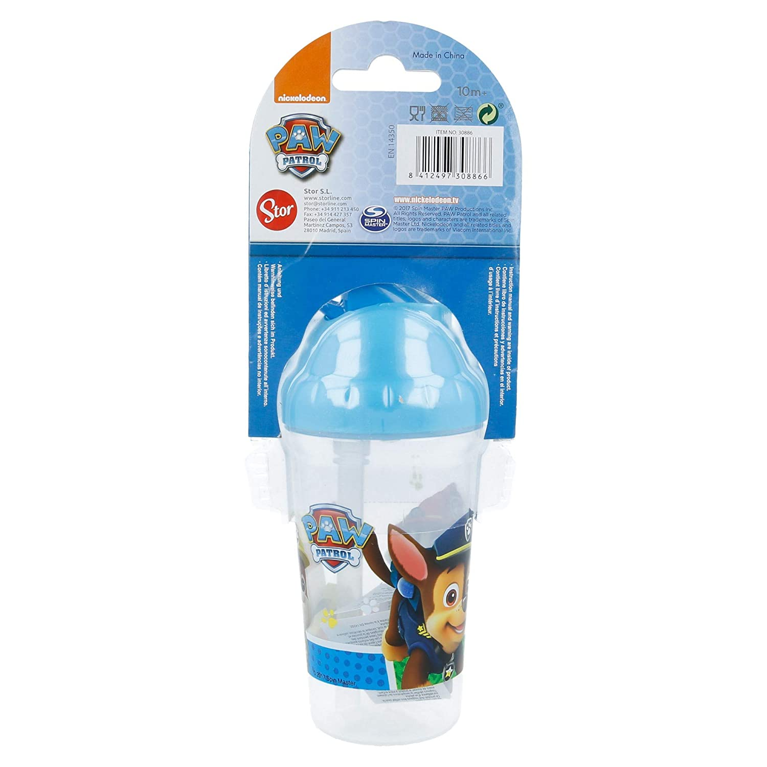 VASO TODDLER CON PAJITA FLEXIBLE 295 ML PATRULLA CANINA