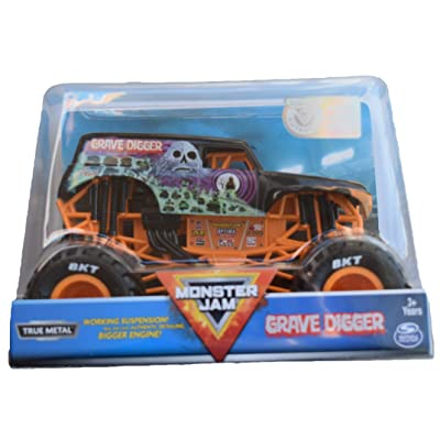 MonsterJam 1:24 Scale True Metal Grave Digger, Orange: Toys & Games