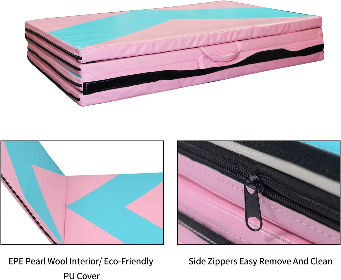 Big Folding Exercise Wrestling Mats for Kids with Carrying Handles LEISURELIFE Gymnastics Tumbling Mat 4x10x2 for Home
