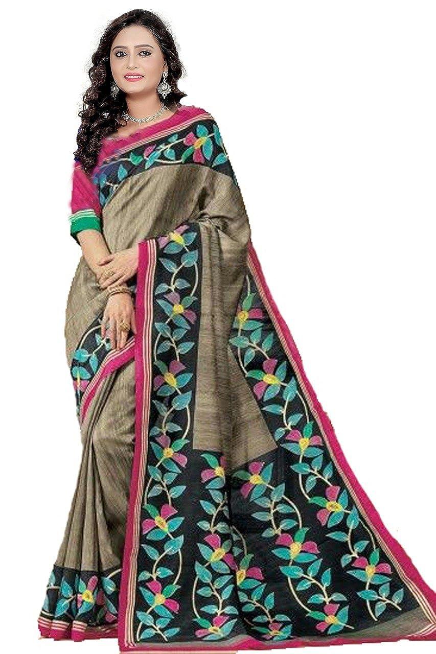 Florence Women's Silk Khaki Bhagalpuri Printed Saree with Blouse (FL-PT-ChikuPink, Brown, Free Size)