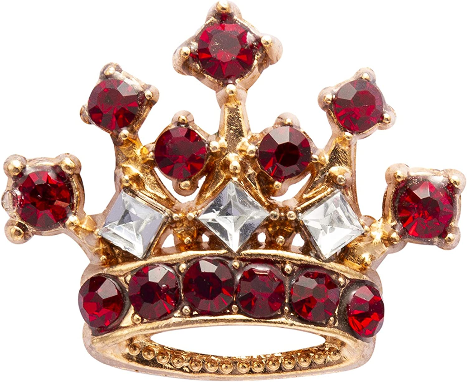 Knighthood Gold Crown With Maroon Stone Detailing Lapel Pin Brooch for Men