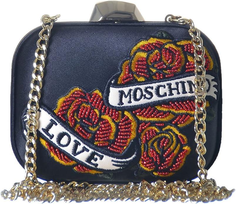 : Love Moschino Women's Satin Black Box Clutch