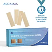 "Aroamas Professional Silicone C-Section Scar Removal Sheets, Soft Adhesive Fabric Strips, Drug-Free, Relieves Itching, Remove Keloid Scars, Acne, 5.7 ×1.57"", 4 pcs (2 Month Supply)"