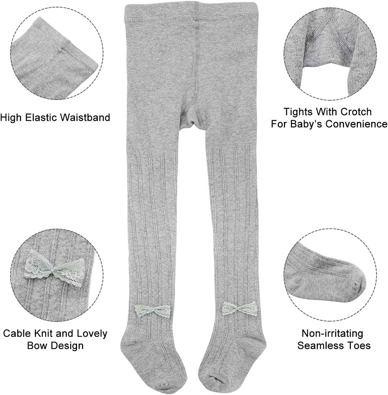 Century Star Baby Girls Tights Toddler Cable Knit Leggings Infant Knit Seamless Newborn Pants Stockings with Lovely Bowknot