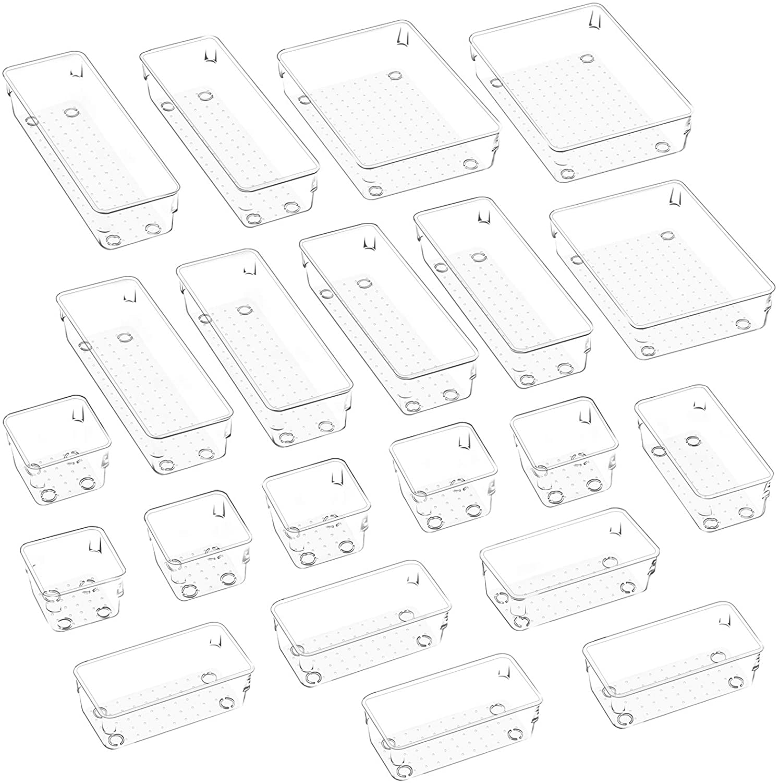 JARLINK 21 Pack Desk Drawer Organizer Trays with 4 Different Sizes, Versatile Clear Drawer Organizers Storage for Bathroom, Makeup, Bedroom, Kitchen, Office Supplies, Craft