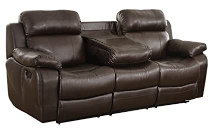 Homelegance Marille Reclining Sofa W/Center Console Cup Holder, Brown Bonded  Leather