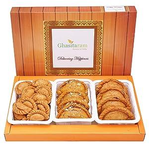 Ghasitaram Gift Holi Gifts Assorted Box of Traditional, Dry Sweet and Farsaan Gujiyas |Gift for Diwali,Holi,Rakhi,Valentine,Christmas,Birthday,Anniversary,Her,Him|