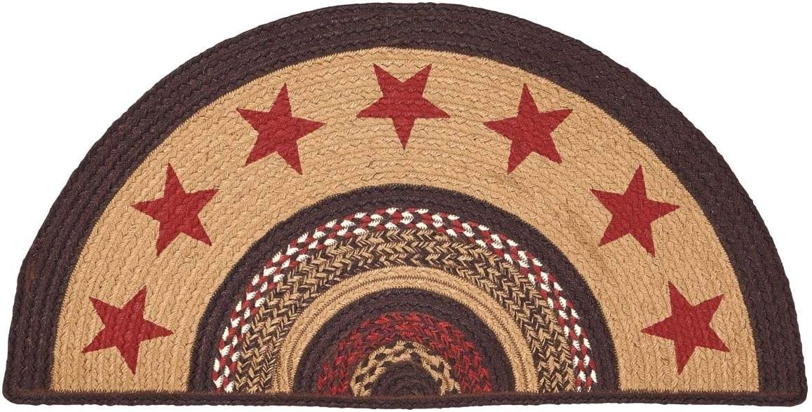 Warm Red Stars Semicircle Rug, Brown Border Star Half Circle Hearth Rug Farmhouse Theme, Braided Reversible Semi Circle Mat Half Moon Cabin Lodge Kitchen Area Accent, 16.5 x 33 Jute