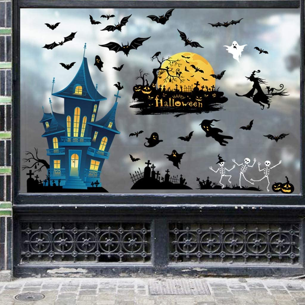 Halloween Window Wall Sticker Decor Vinyl Decal Stickers Witch Bat Mural