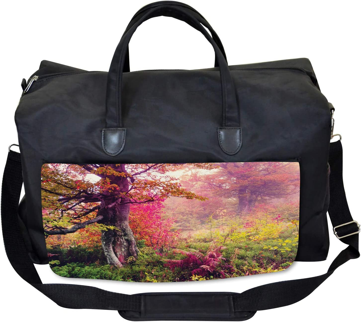 Ambesonne Forest Gym Bag Large Weekender Carry-on Majestic Autumn Trees