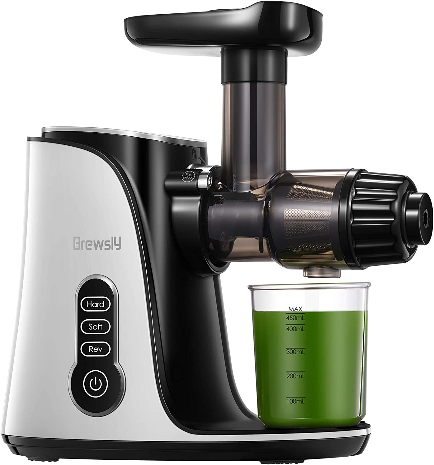 Juicer Machines, Brewsly 3-Mode 2-Speed Slow Masticating Juicer, Cold Press Juicer with High Juice Yield for Vegetables and Fruits, Quite Motor & Compact & Easy to Clean and Assemble,Fresh White