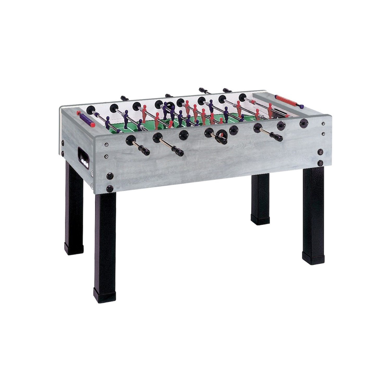Garlando G-500 Grey Oak Foosball Table with Telescoping Steel Rods and Steel Ball Bearings. Includes 10 White Standard Balls.