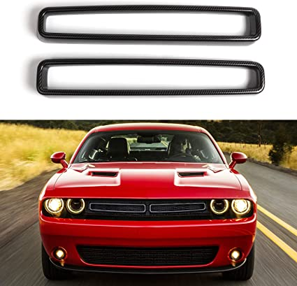 Carbon Fiber Texture JeCar Grille Inserts ABS Grill Cover Trim Kit Exterior Accessories for 2015-2019 Dodge Challenger