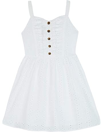 1aeac9046bea Amy Byer Girls' Big Button Front Eyelet Dress