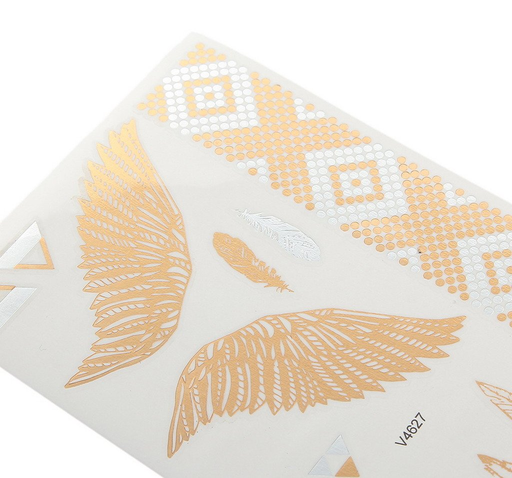 Bigood Colorful Nontoxic Double Wing Temporary Tattoo Sticker Paster