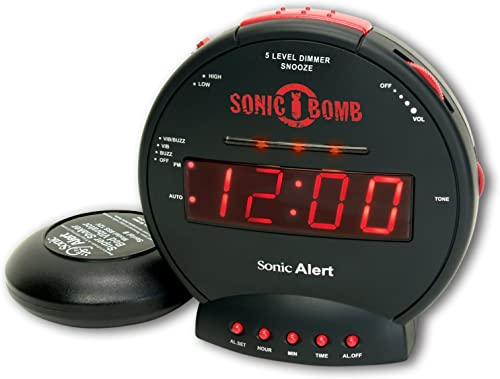 Sonic Alert SBB500SS Sonic Bomb Extra-Loud Dual Alarm Clock with Red Flashing Alert Lights and a Powerful Bed Shaker Renewed