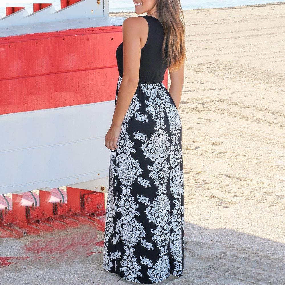 Vestito Lungo Donna Elegante Boho Vestiti Floreale Cerimonia Donne Estivo Casual Abiti Senza Maniche Lunghi Estivi Gonna Abito da Spiaggia
