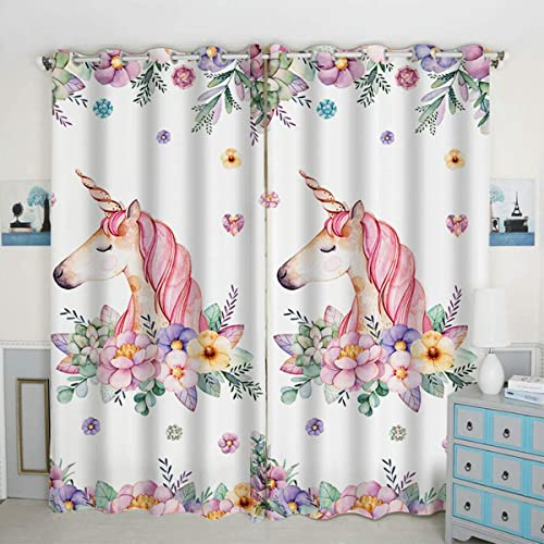 QH Window Curtain Panels Unicorn Flower Pattern Blackout Curtain Panels Thermal Insulated Light Blocking 42W x 84L inch Set of 2 Panel