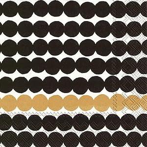 Marimekko Cocktail Napkins Decorative Paper Napkins Modern Black and Gold Napkins 5