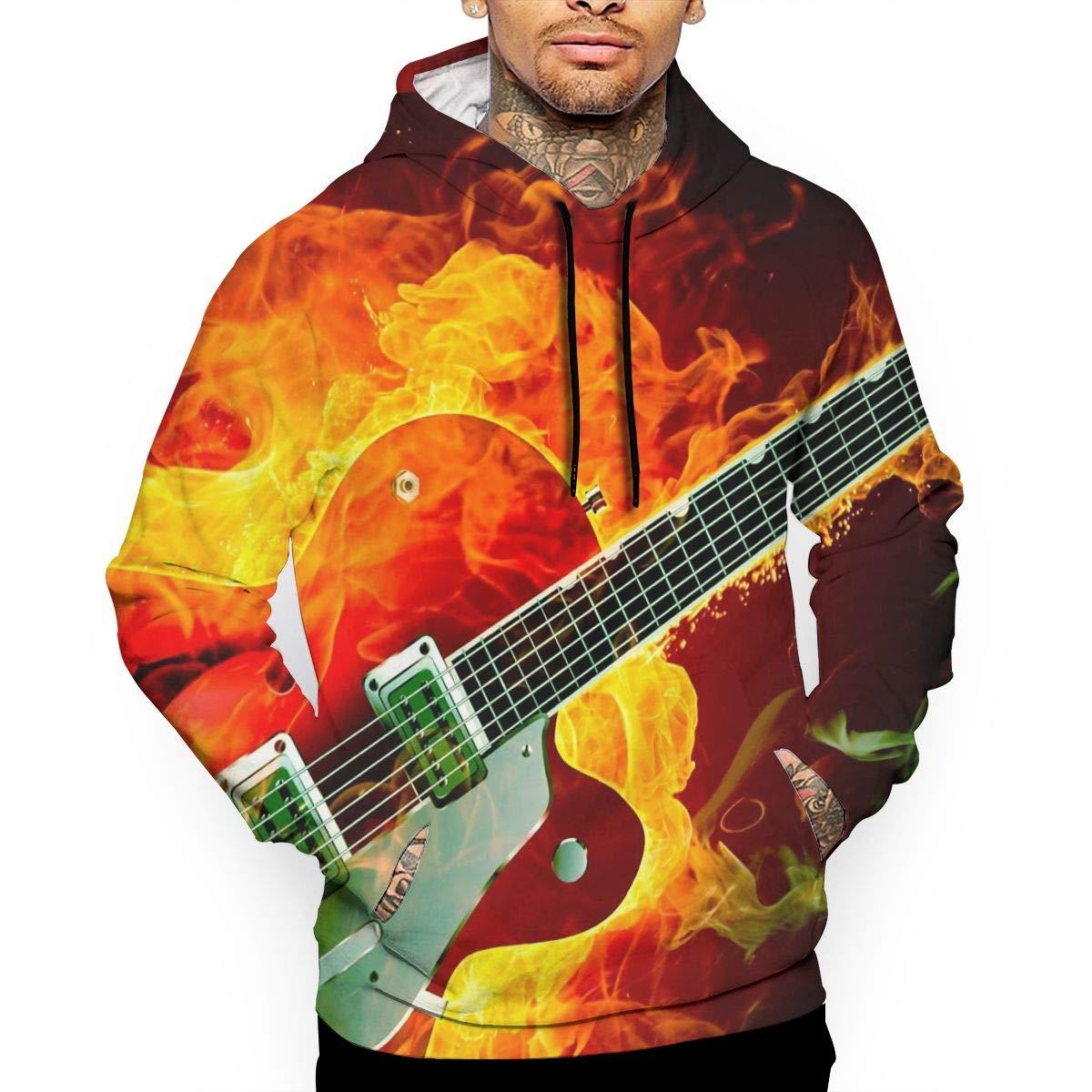YUANSHAN Free Electric Guitar Mans Long Sleeve Hoodie Casual Pocket Hooded Sweatshirt