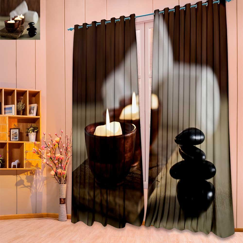 SeptSonne Twigs Fashion Design Print Thermal Insulated Blackout Curtain Lit candles and black massage stones in Zen spa with Tops for Bedroom(W52 x L63 Pair)