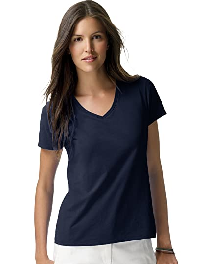 000b4268bf Hanes S04V Hanes Women s Nano-T V-Neck T-Shirt at Amazon Women s Clothing  store