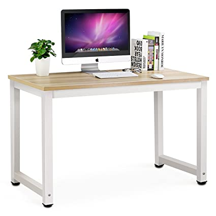 Simple office table Home Office Tribesigns Simple Style Computer Deskpc Laptop Study Table Workstation For Home Office light Walnut Amazoncouk Kitchen Home Tds Office Design Tribesigns Simple Style Computer Deskpc Laptop Study Table